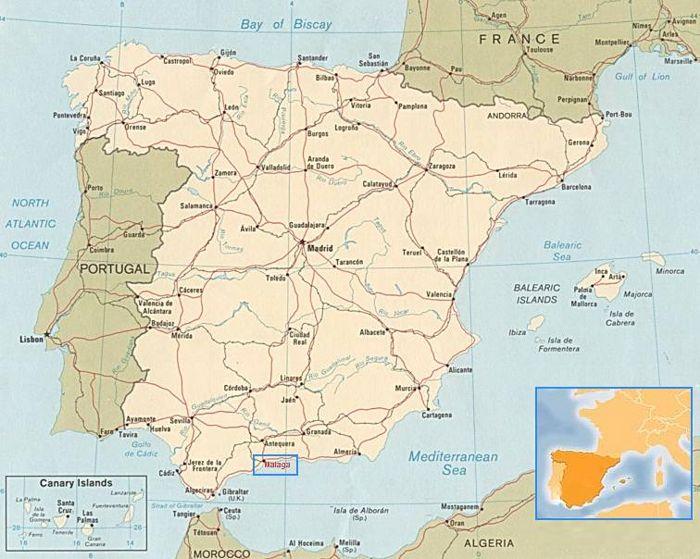 Malaga Karte Spanien.Stadtplan Von Malaga Und Landkarte Von Spanien